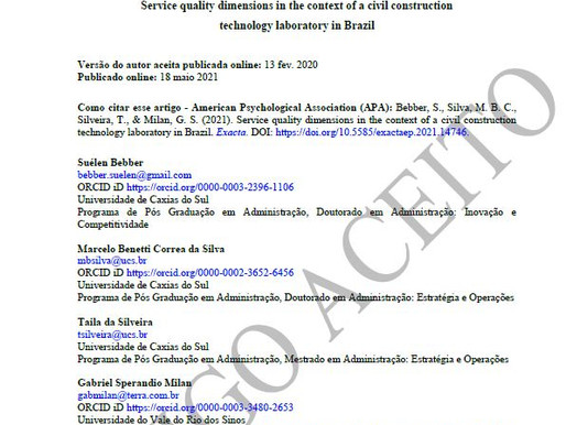 Service quality dimensions in the context of a civil construction technology laboratory in Brazil