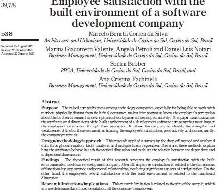 Employee satisfaction with the built environment of a software development company