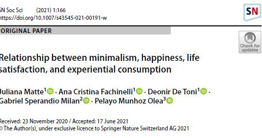 Relationship between minimalism, happiness, life satisfaction, and experiential consumption