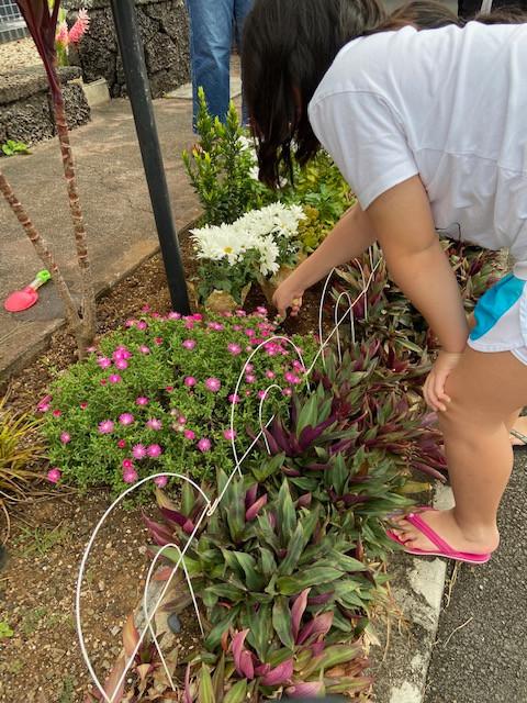 Honori plants her flower