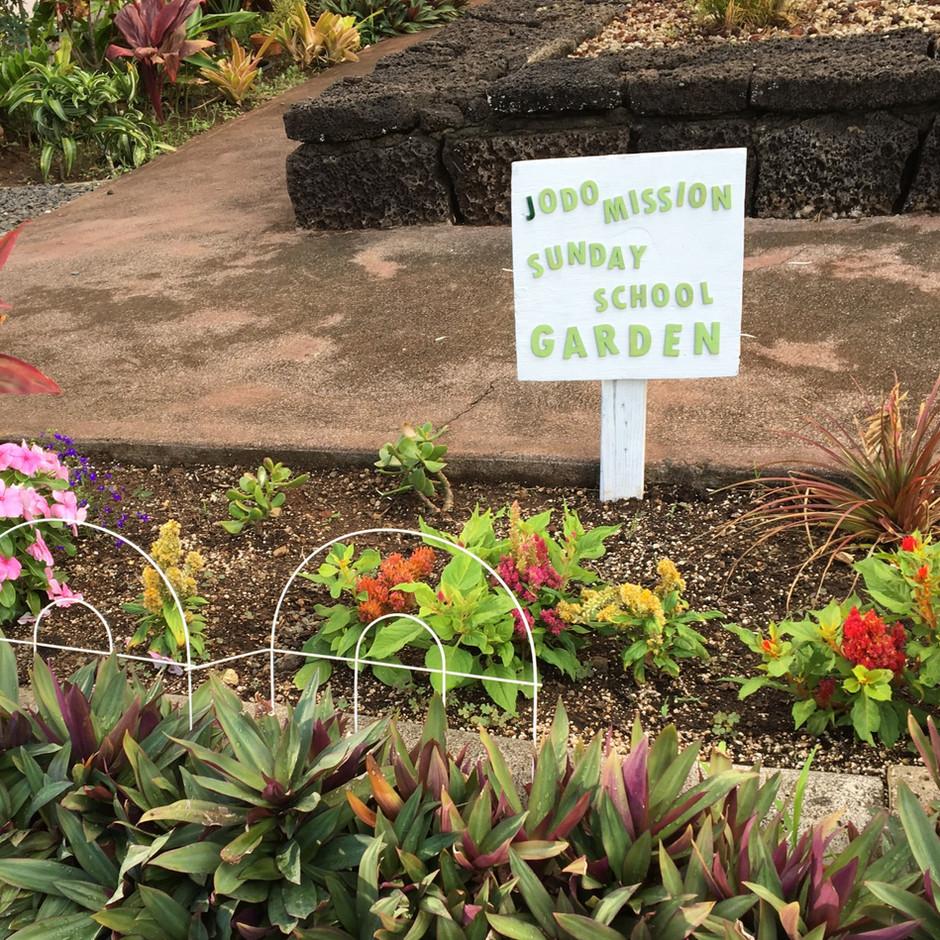 Sunday School Garden next to St. Honen statue