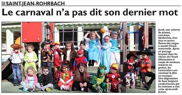 Carnaval des élèves de l'école maternelle de Saint-Jean-Rohrbach paru le 27/02/16 dans le Républicain Lorrain