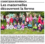 Visite de l'école maternelle de Saint-Jean-Rohrbach à la ferme paru le 13/06/15 dans le Républicain Lorrain