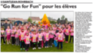 Participation à la course Go Run For Fun pour les élèves des écoles de Saint-Jean-Rohrbach paru le 20/05/15 dans le Républicain Lorrain