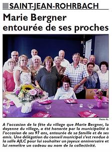 Anniversaire de la doyenne de Saint-Jean-Rohrbach paru le 05/07/15 dans le Républicain Lorrain