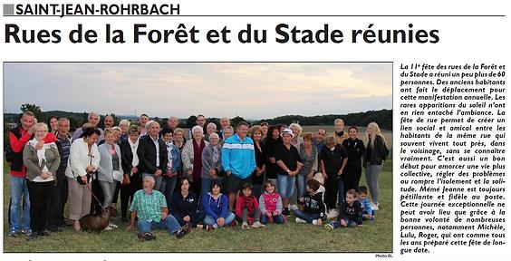Fête de la rue de la forêt de Saint-Jean-Rohrbach paru le 12/09/15 dans le Républicain Lorrain