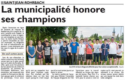 Les U15 de Saint-Jean-Rohrbach sont chamions de Moselle paru le 11/07/15 dans le Républicain Lorrain