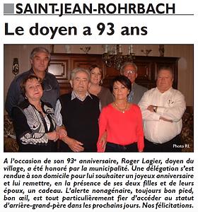 Anniversaire du doyen de Saint-Jean-Rohrbach paru le 25/10/15 dans le Républicain Lorrain