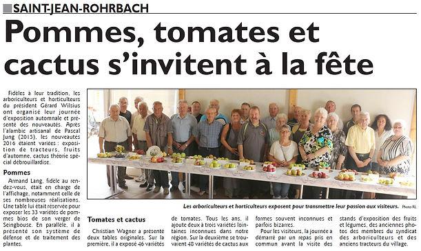 Exposition de fruits et de légumes des arboriculteurs de Saint-Jean-Rohrbach paru le 14/09/16 dans le Républicain Lorrain