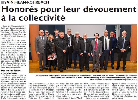 Mise en place du Conseil Municipal des Enfants de Saint-Jean-Rohrbach paru le 07/02/16 dans le Républicain Lorrain