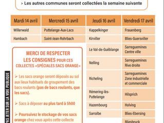 Coronavirus : Collecte spéciale sacs oranges le 15 avril