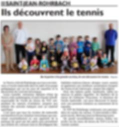Cours de tennis à l'école maternelle de Saint-Jean-Rohrbach paru le 31/03/15 dans le Républicain Lorrain