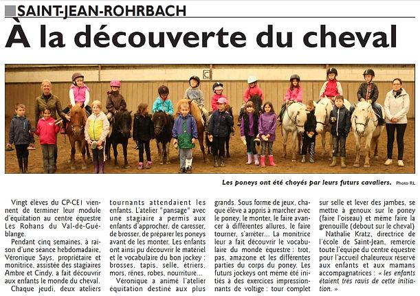 À la découvrte du cheval pour l'école de Saint-Jean-Rohrbach paru le 12/06/16 dans le Républicain Lorrain