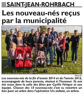 Nouveaux-nés et nouveaux habitants à Saint-Jean-Rohrbach paru le 16/10/15 dans le Républicain Lorrain