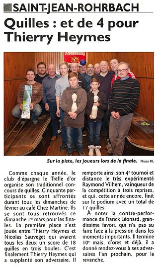 Concours de quilles à Saint-Jean-Rohrbach paru le 05/03/15 dans le Républicain Lorrain