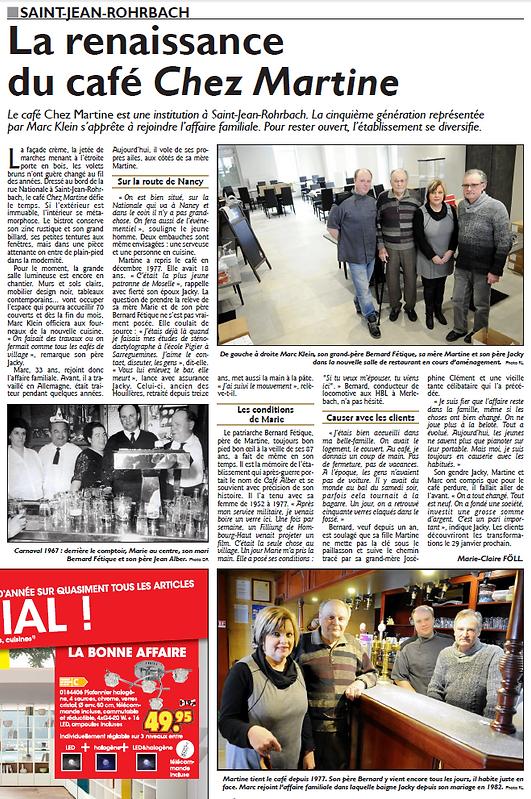 Ouverture du restaurant Chez Martine à Saint-Jean-Rohrbach paru le 20/01/16 dans le Républicain Lorrain