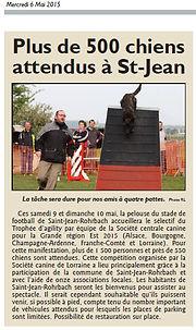 Trophée Agility par équipe à Saint-Jean-Rohrbach paru le 06/05/15 dans le Républicain Lorrain