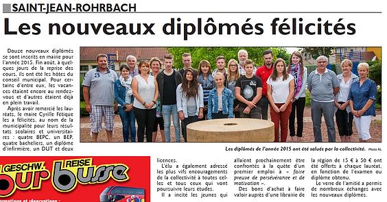 La commune honore mes nouveaux diplômés de Saint-Jean-Rohrbach paru le 11/09/15 dans le Républicain Lorrain