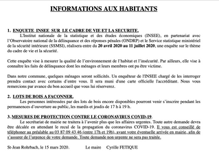 Informations aux habitants