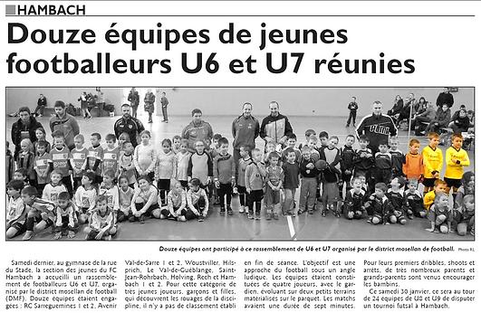 Participation à un tournoi en salle de l'équipe de U7 de Saint-Jean-Rohrbach paru le 26/01/16 dans le Républicain Lorrain