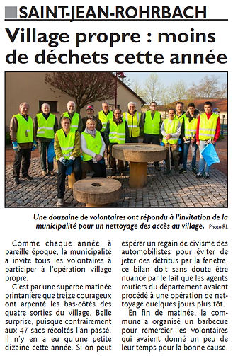 Nettoyage de printemps à Saint-Jean-Rohrbach paru le 01/04/16 dans le Républicain Lorrain