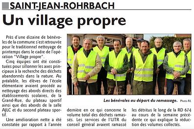 Opération Village propre à Saint-Jean-Rohrbach paru le 02/04/15 dans le Républicain Lorrain