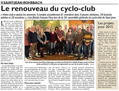 Assemblée générale du Cyclo-Club de Saint-Jean-Rohrbach paru le 26/02/15 dans le Républicain Lorrain
