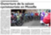 Ouverture de la saison du cyclotourisme à Saint-Jean-Rohrbach paru le 10/03/16 dans le Républicain Lorrain