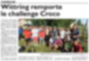 3e place pour l'équipe de Saint-Jean-Rohrbach au Challenge Croco paru le 18/08/16 dans le Républicain Lorrain