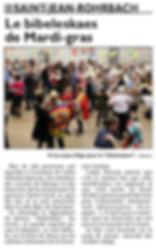 Biebeleskaes de Mardi-gras à Saint-Jean-Rohrbach paru le 11/02/16 dans le Républicain Lorrain
