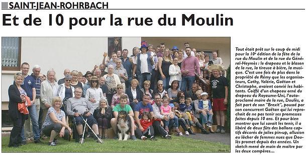 Fêt de la rue du moulin à Saint-Jean-Rohrbach paru le 11/07/16 dans le Républicain Lorrain