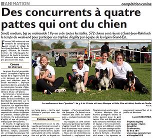 Trophée Agility par équipe à Saint-Jean-Rohrbach paru le 10/05/15 dans le Républicain Lorrain