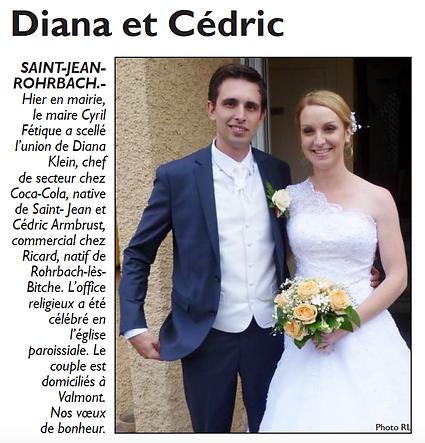Mariage de Diana KLEIN et Céric AMBRUST à Saint-Jean-Rohrbach paru le 28/06/15 dans le Républicain Lorrain
