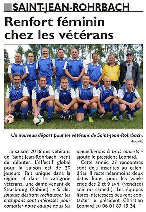 Début de saison pour les vétérans de Saint-Jean-Rohrbach paru le 31/03/16 dans le Républicain Lorrain