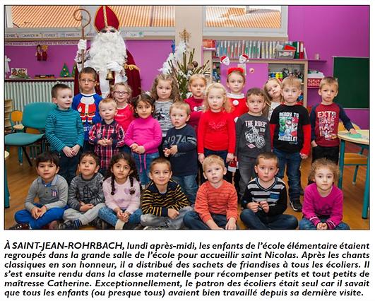Visite de Saint-Nicolas à l'école maternelle de Saint-Jean-Rohrbach paru le 10/12/15 dans le Républicain Lorrain