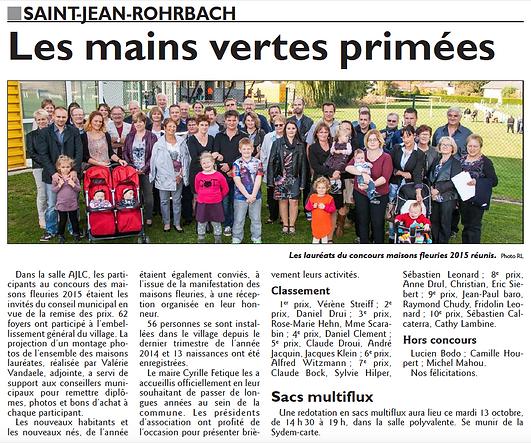 Maisons fleuries à Saint-Jean-Rohrbach paru le 13/10/15 dans le Républicain Lorrain