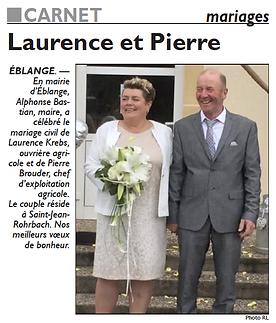 Mariage de Laurence KREBS et Pierre BROUDER de Saint-Jean-Rohrbach paru le 19/07/16 dans le Républicain Lorrain