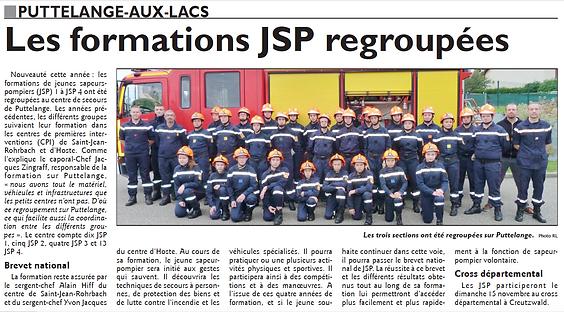 Les Jeunes Sapeurs Pompiers de Saint-Jean-Rohrbach se forment paru le 29/09/15 dans le Républicain Lorrain