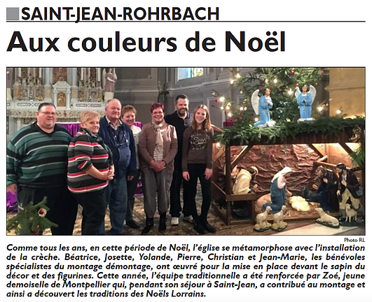 Pour Noël, les bénévoles décorent l'église de Saint-Jean-Rohrbach paru le 21/12/15 dans le Républicain Lorrain