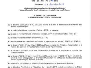 Arrêté préfectoral règlementant le port et l'utilisation d'artifices, temporairement