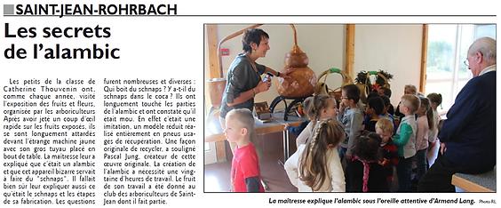 La fabrication de l'eau de vie expliquée aux tout-petits de Saint-Jean-Rohrbach paru le 20/09/15 dans le Républicain Lorrain