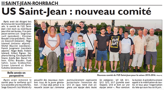 Élection du comité de l'Union Sportive de Saint-Jean-Rohrbach paru le 18/06/15 dans le Républicain Lorrain