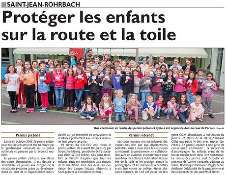 Permis piéton et internet à l'école de Saint-Jean-Rohrbach paru le 12/06/15 dans le Républicain Lorrain