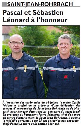 25 ans de service pour Pascal et Sébastien LEONARD, sapeurs-pompiers à Saint-Jean-Rohrbach paru le 23/07/16 dans le Républicain Lorrain