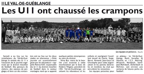 Reprise du championnat pour les U11 de Saint-Jean-Rohrbach paru le 21/09/15 dans le Républicain Lorrain