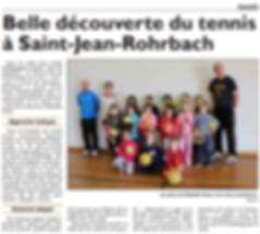 Cours de tennis à l'école élémentaire de Saint-Jean-Rohrbach paru le 13/03/15 dans le Républicain Lorrain
