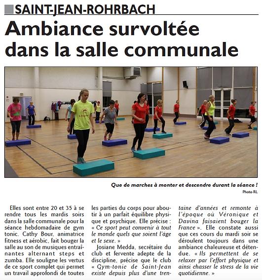 Affluence pour les cours de Gym Tonic à Saint-Jean-Rohrbach paru le 04/12/15 dans le Républicain Lorrain
