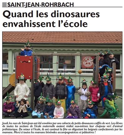 Carnaval de l'école maternelle de Saint-Jean-Rohrbach paru le 28/02/15 dans le Républicain Lorrain