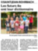 Remise des dictionnaires pour les futurs élèves de 6e de Saint-Jean-Rohrbach paru le 23/07/15 dans le Républicain Lorrain
