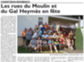 Fête de la rue du moulin de Saint-Jean-Rohrbach paru le 09/07/15 dans le Républicain Lorrain